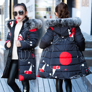 Image 1 - Liakhouskaya 2018 Childrens Clothing Winter Fur Jacket For Girls 12 years Old Warm Hooded Thick Cotton Padded Long Solid Coat