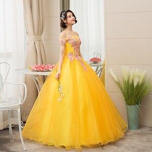 Image 4 - EZKUNTZA New Quinceanera Dresses Gold Off The Shoulder Flower Ball Gown Party Prom Quinceanera Gown Vestidos De Quincea Era 2019