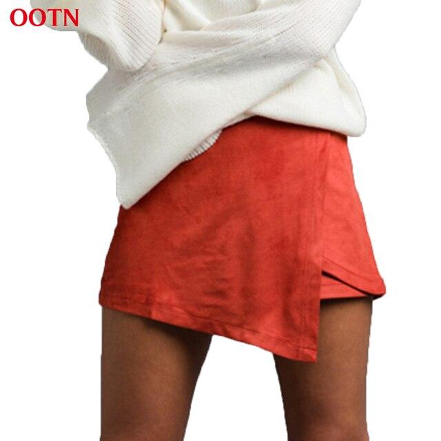 OOTN KQ001 orange-red женщины бархатной skort с плиссированной хемминг asymmetrica warp skort мини нерегулярные женщины шорты фитнес-весна