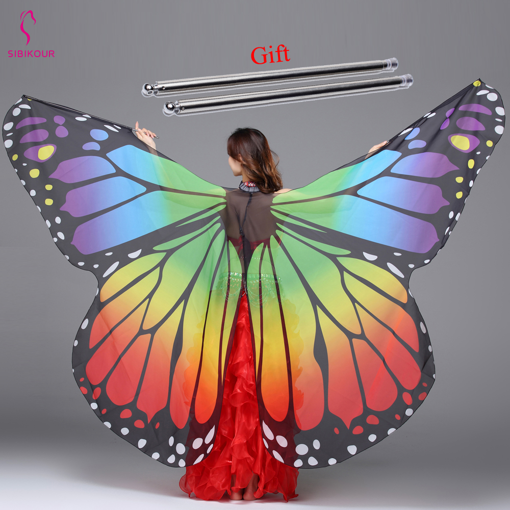 Butterfly Wings Women Belly Dance Wings Costume Adult Kids Butterfly Print Chiffon Dance Accessory Bollywood Girls With Sticks