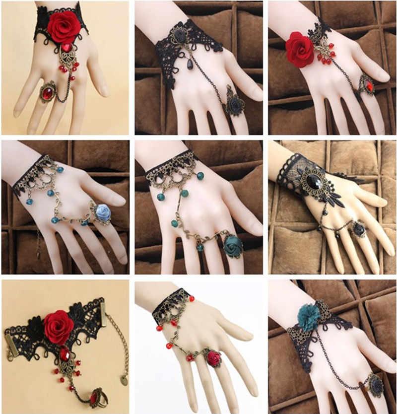 W stylu Vintage koronki kwiat bransoletki mankiet bransoletki dla kobiet dziewczyny etniczne pałac biżuteria Rose kwiaty z perłami mankiet Charm bransoletka nowy gorący
