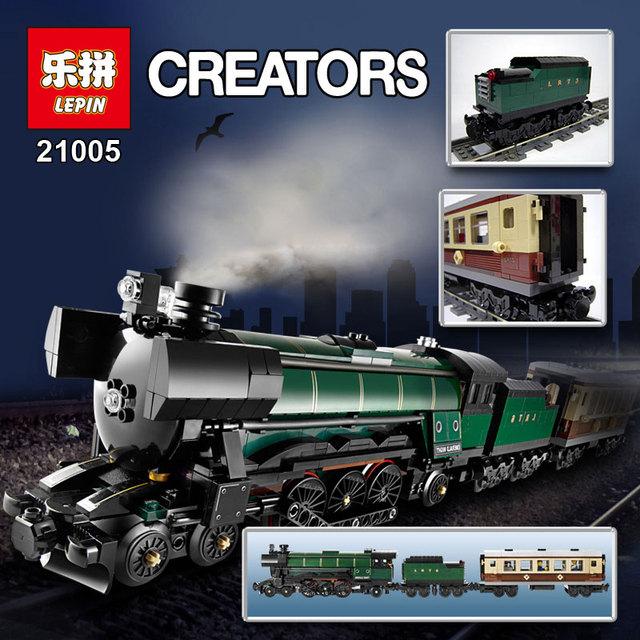 Envío libre LEPIN 21005 1085 Unids Serie Técnica Esmeralda Noche Tren Modelo Kit de Construcción de Ladrillo Bloque Compatible 10194
