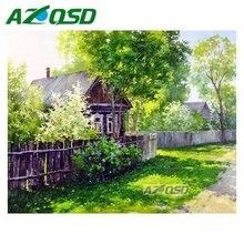 AZQSD Diamond Embroidery Set Home Decor Mosaic Painting DIY Full Square Diamond Painting Cross Stitch Green House bb4267