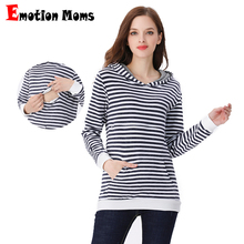 Emotion Moms 100% cotton Winter Maternity Clothes Nursing T-shirt Breastfeeding Tops Hoodie Sweater For Pregnant Women