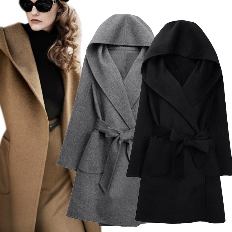 New Winter Women Wool Coat Long Sleeve Two Sides Wear Belted Loose Warm Woolen Jacket Hooded Outerwear