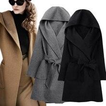 Novo inverno feminino casaco de lã manga longa dois lados usar com cinto solto quente casaco de lã com capuz outerwear
