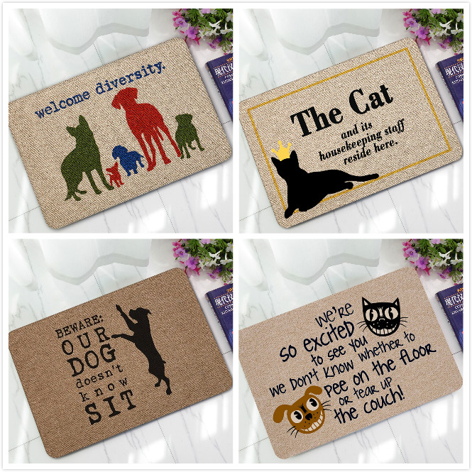 Rubber Doormat Carpets Painting Cat Dog Print Bath Mats Floor