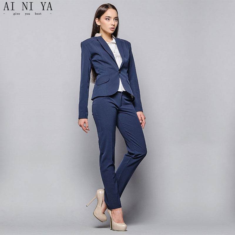 Suits & Sets Intelligent Dark Blue Women Business Suits Work Wear Autumn Slim Two-piece Female Office Uniform Formal Ladies Elegant Pant Suits Custom With The Best Service