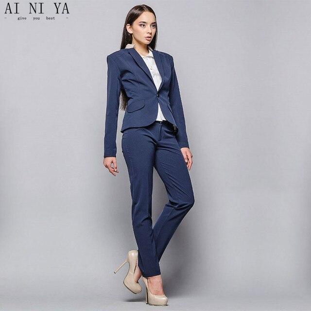 d75484539a59 Elegante 2019 pantalones de mujer traje azul profundo dos piezas mujer  trajes de negocios chaquetas +
