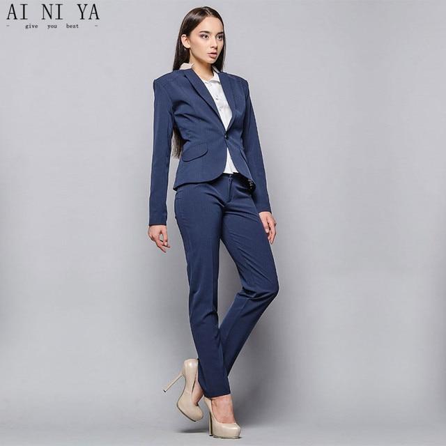 6a1641f3c7d3 Élégant 2018 Femmes Pantalon de Costume Bleu Profond Deux Pièce Femelle  Costumes D affaires Vestes