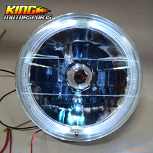 For 7 Inch Round Sealed Beam Chrome Crystal Clear Headlights H4 Bulb H6024 H6014 Pair USA Domestic Free Shipping