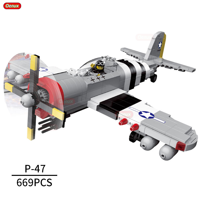 Oenux World War 2 United State Army Air Forces Fighter P-47 Thunderbolt Aircraft Vehicle Model Military Building Block Brick Toy майка print bar pantera