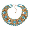 Fashion Collier Femme Colorful Natural Stone Gems Necklaces Agate Crystal Turquoise Necklaces vintage accessories maxi necklace