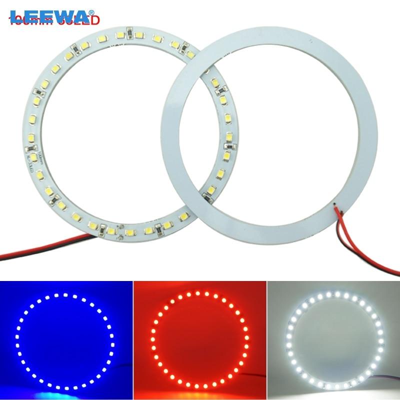 LEEWA 2pcs 100mm Car Angel Eyes 1210/3528 33SMD LED Headlight Halo Ring Angel Eye Lighting White Red Blue #CA2672
