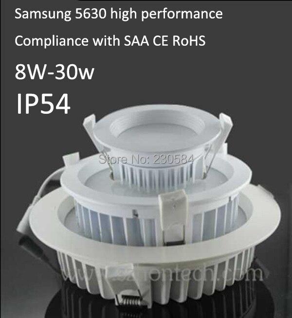 Augstas kvalitātes ūdens pretestības gaisma mitrās vietās 8w 10w15w 20w 25w 30w IP54 ūdensnecaurlaidīgs SAA CE vadīts apgaismojums