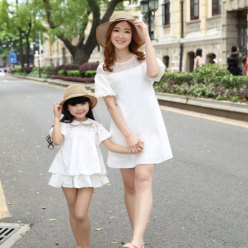 2016 Summer Style Mother Daughter Dresses Solid Family