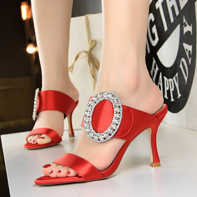 ef2f85a0f944 Rhinestone Mules Metal Buckle Peep Toe Slides High Heels Shoes Woman  Slippers Sandals Zapatos Mujer Black Gold Gray Camel White