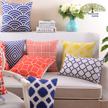 New American Red Blue Geometry Cushion Cover Throw Pillow Case For Home Sofa Car Decoration Children's Christmas Gift(China)