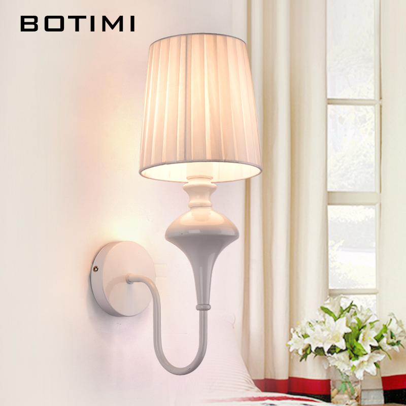 BOTIMI Modern Wall Lamp Hotel Lighting Fabric Lampshade Wall Sconce For Corridor Balcony Bedroom White Black Bedside Lamps modern lamp trophy wall lamp wall lamp bed lighting bedside wall lamp