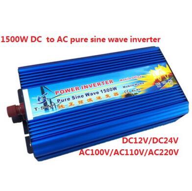 Single Phase digital display 1500w DC12V/24V to AC110V/220V Pure Sine Wave Solar Inverter peak power 3000w 3kw inverter