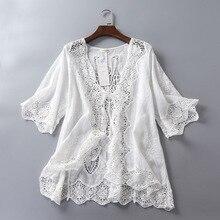 Летний кардиган, кружевное кимоно, кардиган, Женская белая блузка, вязаный крючком Топ, вышивка, Корейская пляжная одежда, Blusas Mujer De Moda, туника