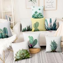 Małe świeże rośliny drukowane poszewka na poduszkę Tropical Cactus soczyste poduszka poduszka dekoracyjna Home Decor Sofa rzuć poduszki 45*45 cm tanie tanio NoEnName_Null CN (pochodzenie) Cusion Zdejmować i prać PRINTED Nowa klasyczna po nowoczesne HANDMADE Plac Seat PLANT COTTON