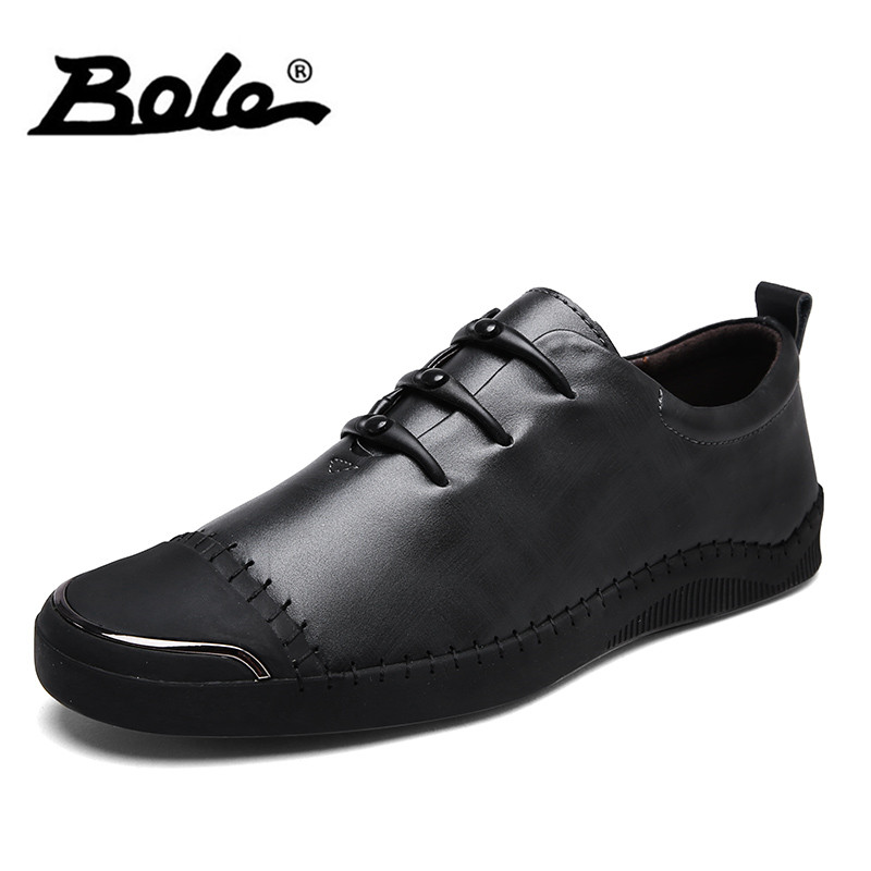 BOLE Men's Leather Casual Shoes New Design Comfortable Male Lace Up Flats Men Krasovki Flat Heel Sneakers Tenis Masculino cirohuner leather casual men shoes male lace up flats black men krasovki flat heel sneakers tenis masculino comfortable shoes