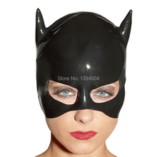 2016 New Rushed Time-limited sex products Women Latex Catsuit Costume Sexy black unisex 3D cat Hoods Open face hat Mask