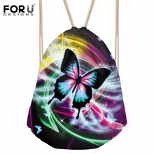 FORUDESIGNS Drawstring Bag Women's Batterfly Prints Beach Pouch Girls Casual Storage Pocket Kids Small Backpack Fashion Mochilas