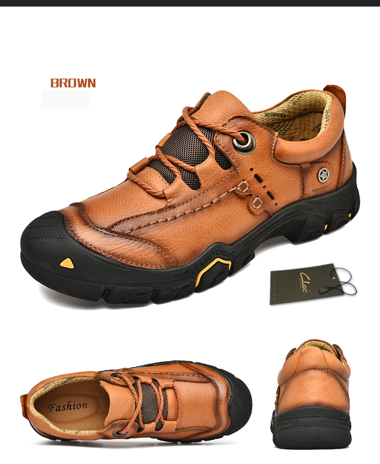 930f1760bf9 US $40.0 41% OFF|CLAX Mens Work Shoes Genuine Leather Ankle Boots Male  safety Shoe Casual Footwear Leather Shoe Soft chaussure homme Plus Size-in  Work ...