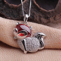 925 Sterling Silver Garnet Necklace Pendant Fashion Brand stereo fox national jewelry wholesale