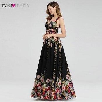 Floral Printed Elegant Prom Dresses Ever Pretty A-Line V-Neck Sleeveless Sexy Formal Party Dresses EP09016BP Vestidos De Gala 3