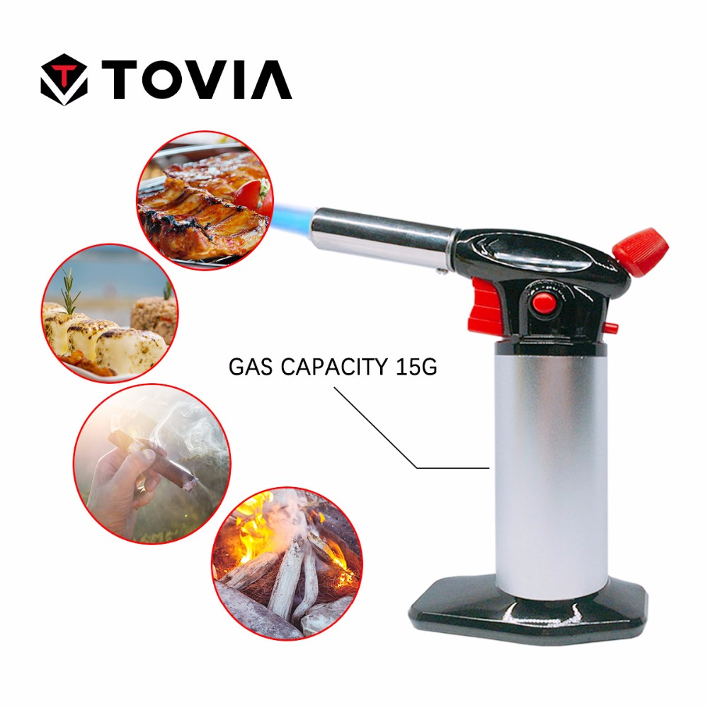 TOVIA Flame Gun Torch Butane Lighter Burning Torch Flamethrower Electricity Ignite Outdoor Gas Torch Camping BBQ Soldering Weld inflatable flame gun torch lighter electricity ignite butane torch outdoor gas burning torch soldering welding camping bbq