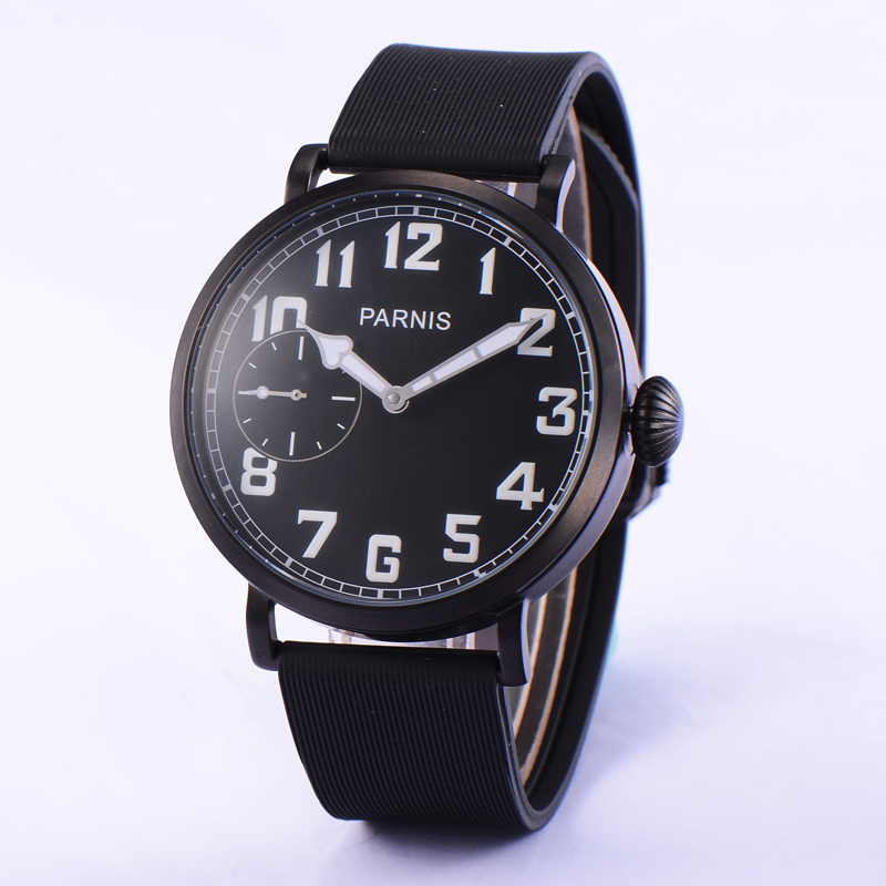 Fashion 46mm Parnis Black PVD Case White Numbers Hand Winding Movement Wrist Watch
