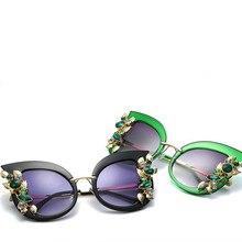 5349e5d383 2019 Fashion Cat Eye Sunglasses Women Brand Designer Half Frame Diamante Sun  Glasses UV400 Summer Style