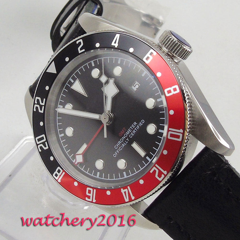 41mm CORGEUT Sterile Black Dial Red & Black Rotating Bezel GMT Sapphire Glass Luminous Date Automatic Movement men's Watch цена и фото