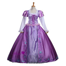 Cosplay rapunzel enredados princesa bordado dress dress de halloween y fiesta cosplay largo femenino