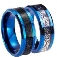 Queenwish уникальный 8 мм черный/золото серебрение кельтские свадебные Кольца синий Вольфрам карбида Юбилей его и ее Обручальные кольца коробка