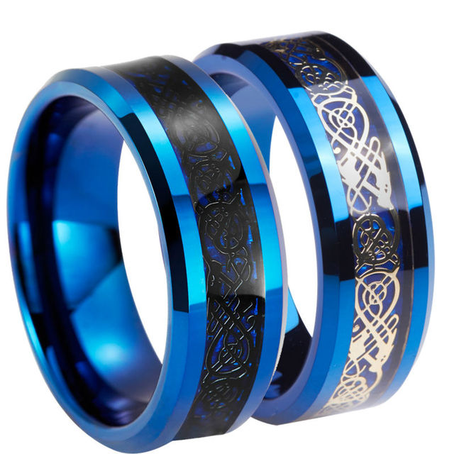 Queenwish Unique 8mm Black Gold Silvering Celtic Wedding Rings Blue Tungsten Carbide Anniversary His And