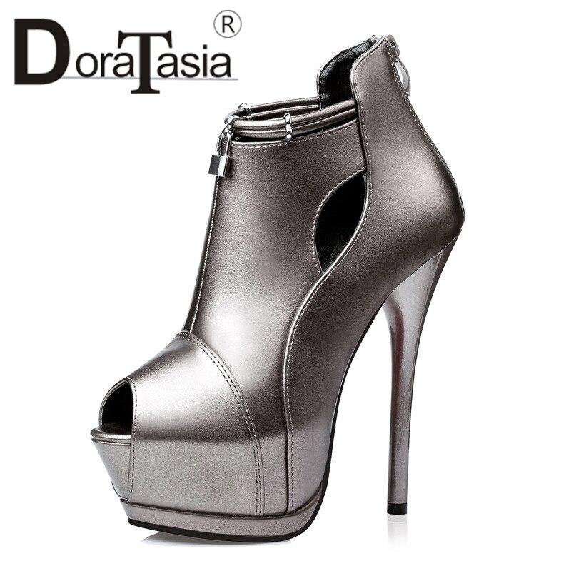DoraTasia 2019 New Solid Thin High Heels Peep Toe Zip Platform Shoes Woman Casual Party Autumn Spring Pumps Black