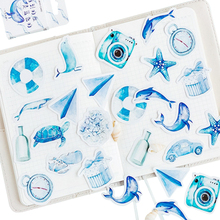 45pcs/lot Cartoon Painted Blue Sea Animals Whales Flowers Paper Lable Stickers Scrapbooking Adhesive DIY Diary&Album