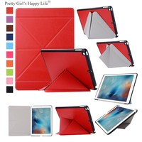For Apple iPad 9.7 inch 2017 Case Transformer Leather Flip Cover For iPad 9.7 inch 2017 Tablet Shell Stand Capa Funda+Stylus