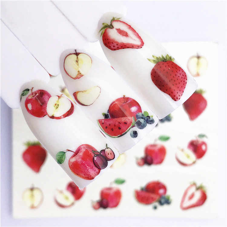 1 pcs Fruit Kerst Nail Stickers Bloemen pPlants Water Decal Kat Patroon 3D Manicure Sticker Nail Art Decoratie m1N88