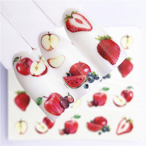 1 pcs Fruit Christmas Nail Stickers Flowers pPlants Water Decal Cat Pattern 3D Manicure Sticker Nail Art Decoration m1N88