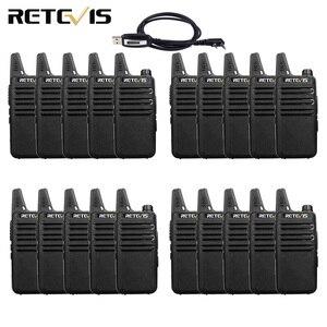 Image 1 - 20 sztuk mini walkie talkie Retevis RT22 ekstremalne ultra cienki 2 W UHF VOX Ham Radio Transceiver Hf Two Way Radio stacja