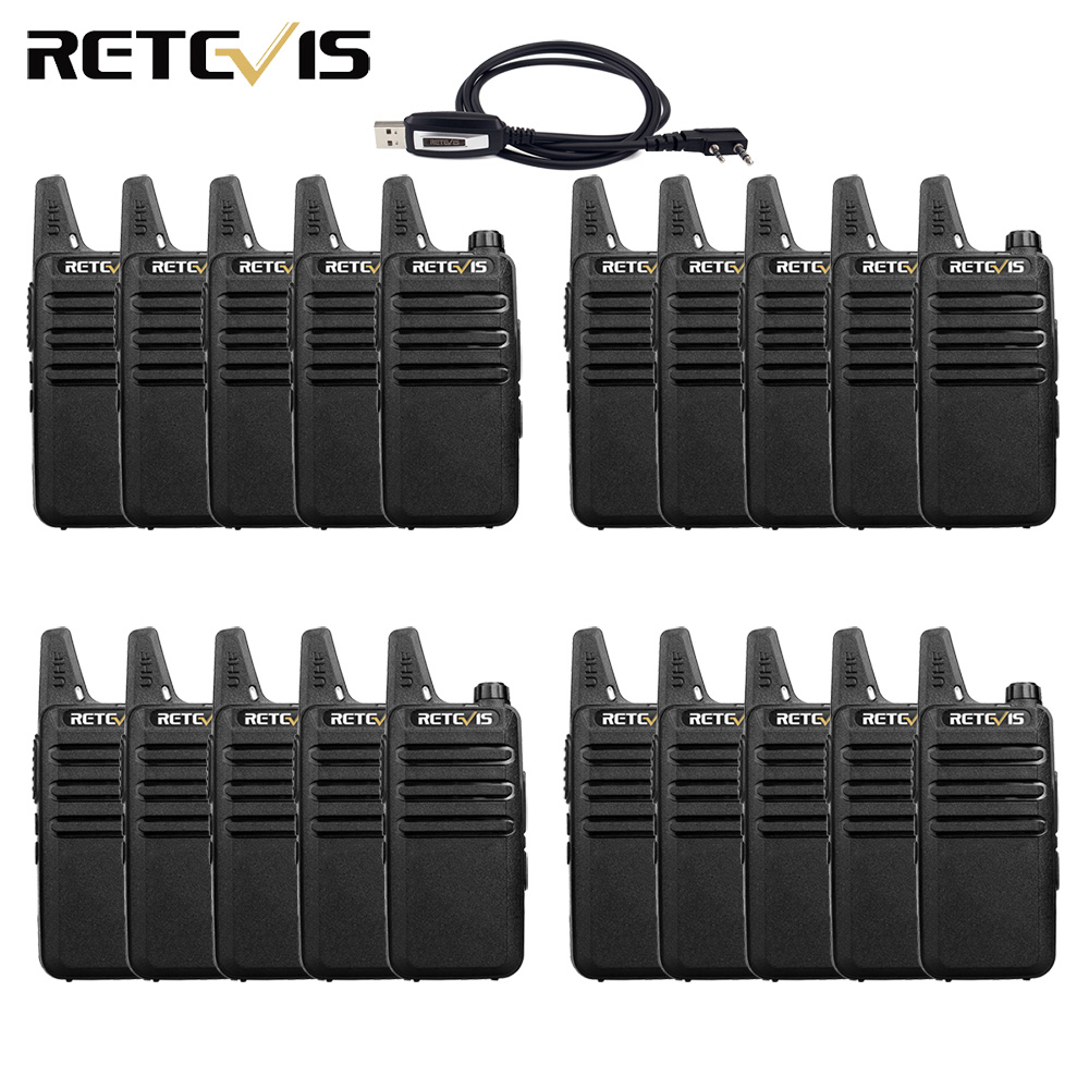 20pcs Mini Walkie Talkie Retevis RT622 RT22 Extreme Ultra-thin UHF VOX PMR446 FRS Ham Radio Hf Transceiver Two Way Radio Station