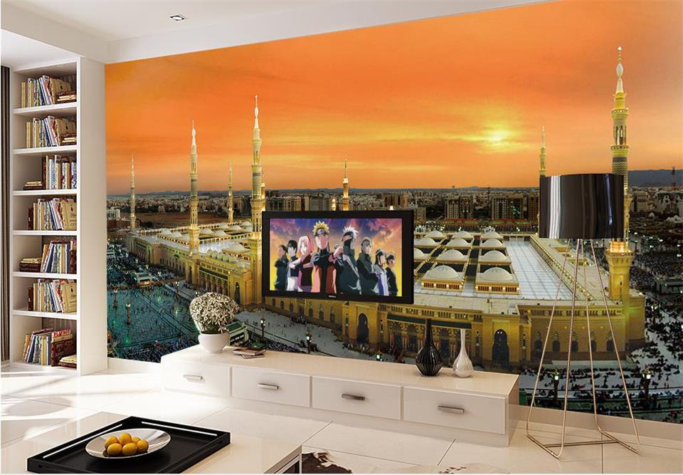 ᗖcustom muurschildering behang kamer d foto behang mekka