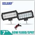 """5D Oslamp 60 W CREE Chips Led Spot/Luz de Inundación de Trabajo 7 """"Auto Conducir Faro 12/24 V Led Barra Ligera del Trabajo para SUV Coche ATV RZR Camión"""