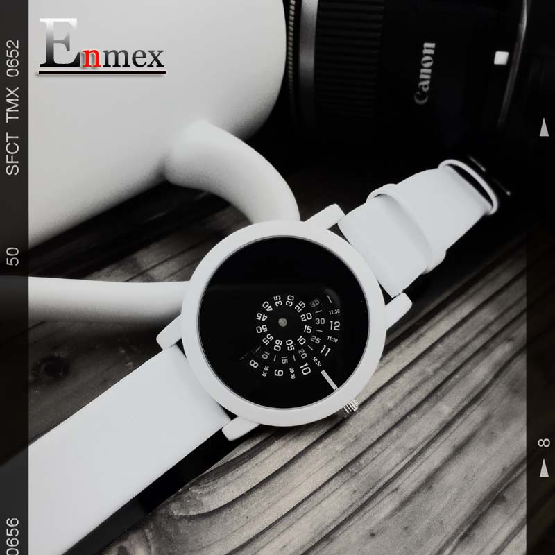 2016 Enmex creative design wristwatch camera concept brief simple design special digital discs hands fashion quartz