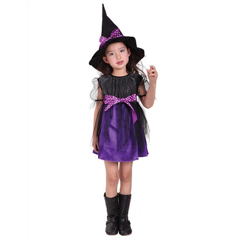 New Kids Girls dress dropship fashion Toddler Kids Baby Girls Halloween Clothes Costume Dress Party Dresses+Hat Outfit H25 SEP19